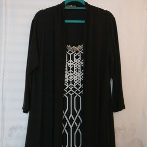 HAANI black & white jewelry cardigan sweater dress